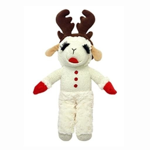"""MultiPet Holiday Standing Lamb Chop w/Antlers 13"""""""