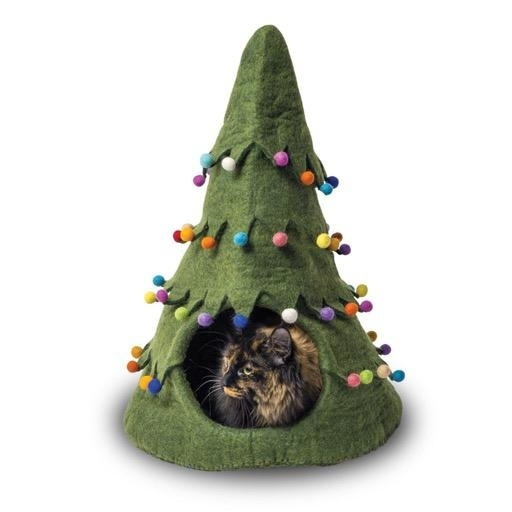 Dharma Dog Karma Cat Dharma Dog Karma Cat Wool Felt Christmas Tree Cave Green