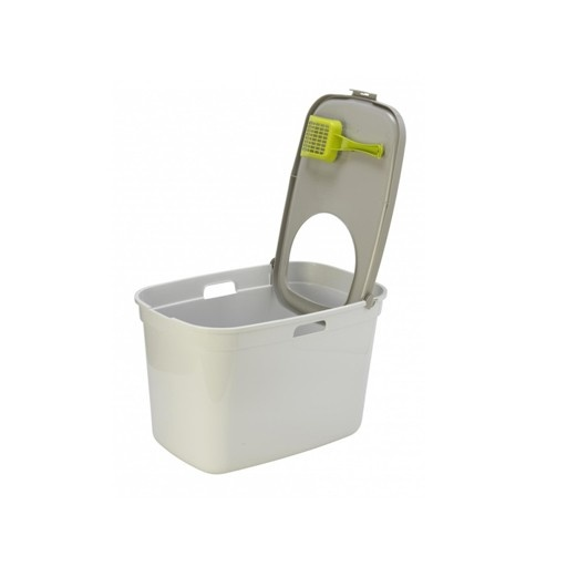 Moderna Moderna Top Cat Litter Box White w/Warm Grey Lid