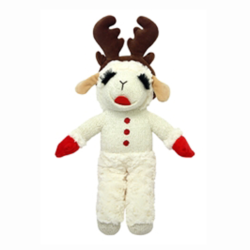 """MultiPet Holiday Standing Lamb Chop w/Antlers 10.5"""""""