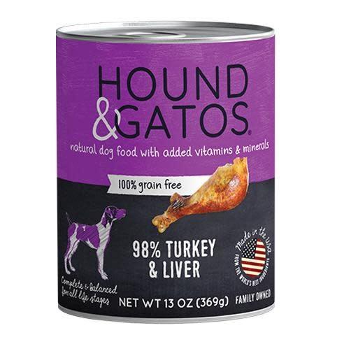 Hound & Gatos Hound & Gatos Dog Can 98% Turkey & Liver 13oz