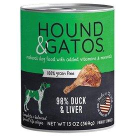 Hound & Gatos Hound & Gatos Dog Can 98% Duck  & Duck Liver 13oz