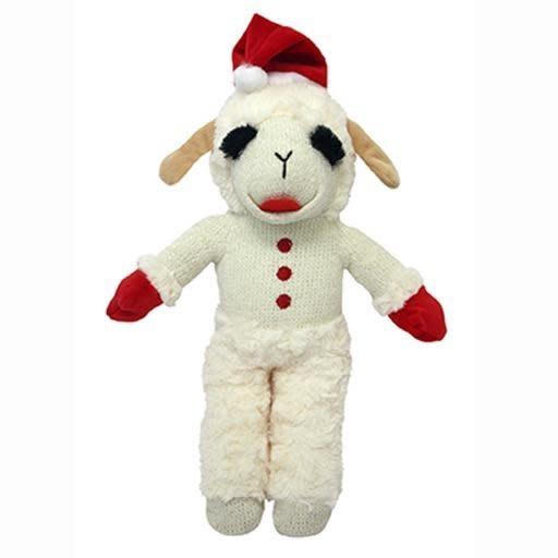 "MultiPet Holiday Standing Lamb Chop w/Santa Hat 13"""