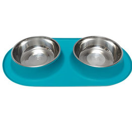 Messy Mutts Messy Mutts Double Silicone Feeder with Stainless Saucer Bowl 1.5 Cups Blue Medium