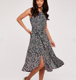 Apricot Apricot - 529489 Floral Pleat Neck Midi Dress