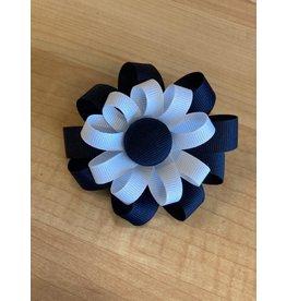 "UNIFORM 2 Layer Button Flower Ribbon Bow Hair Clip 3 1/2"" wide"