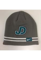 NON-UNIFORM Beanie - NIKE JD teal logo charcoal hat, double white stripes