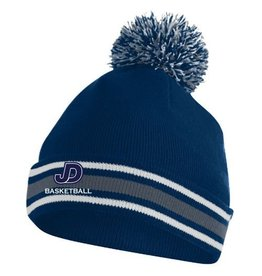 NON-UNIFORM Embroidered Knit Hat in navy, white and grey with JD Basketball embroidered
