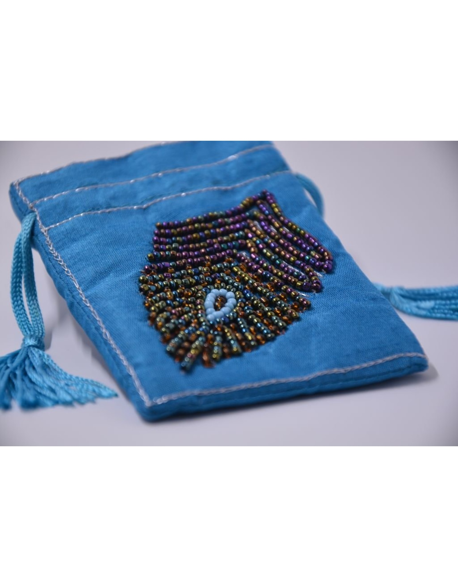 NON-UNIFORM Gift Pouch - Handmade Small Embroidered Beaded Peacock Feather Jewelry Pouch (India)