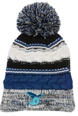 NON-UNIFORM JD Lacrosse embroidered on blue striped hat.