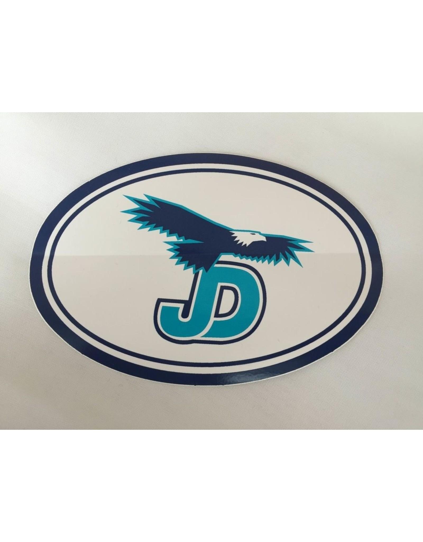 "NON-UNIFORM JD Sticker - 4""x6"" oval, white decal"