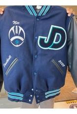 NON-UNIFORM JD Varsity Letterman Unisex Jacket, Leather/Wool, Navy