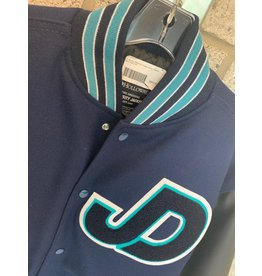 NON-UNIFORM JD Varsity Letterman Academic Achievement Jacket, Leather/Wool, Navy