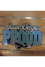 NON-UNIFORM Juan Diego Proud Decal, navy/white/teal auto glass sticker