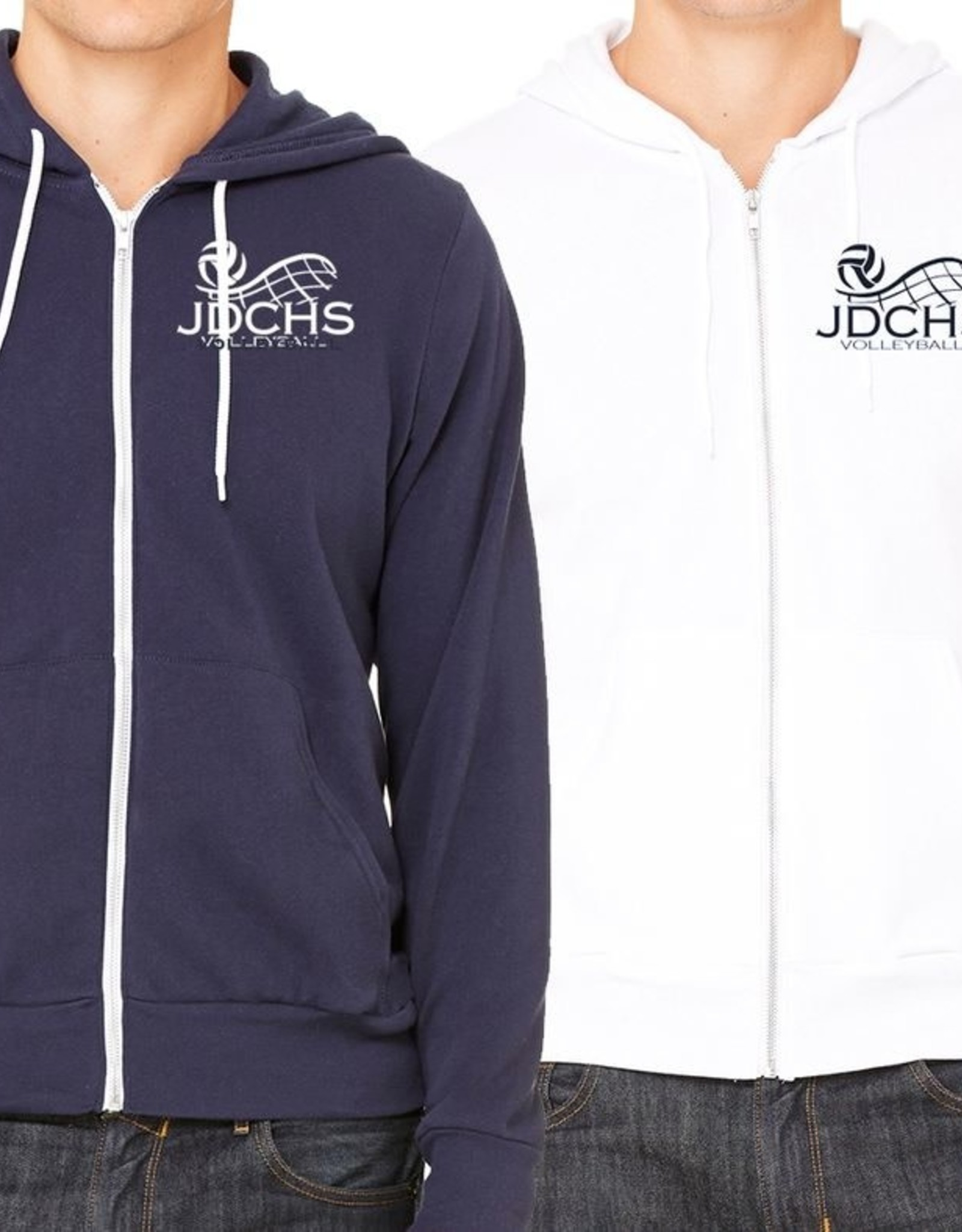NON-UNIFORM Navy or white full zip hoodie with volleyball embroidered logo