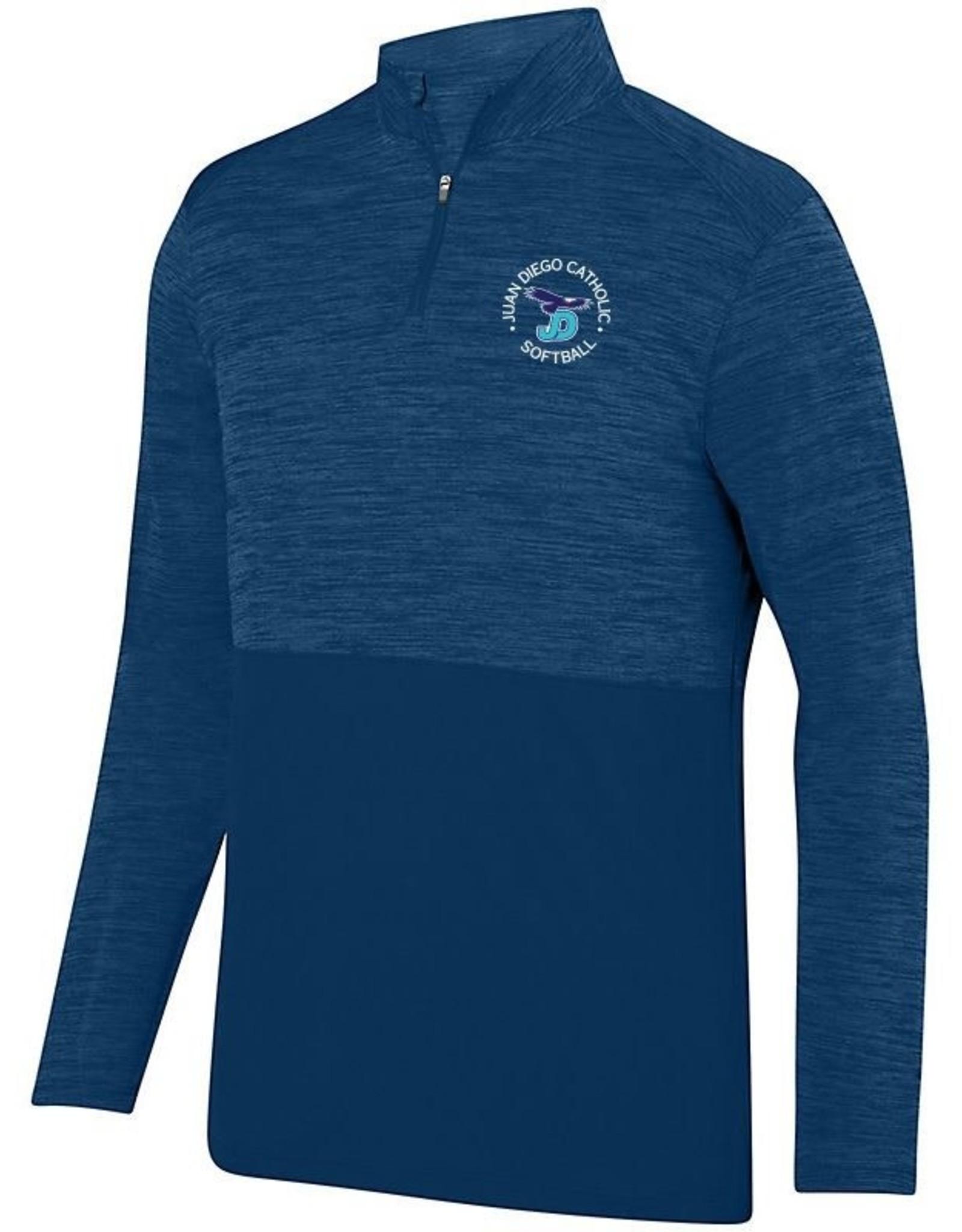 NON-UNIFORM Softball Navy Quarterzip embroidered with softball logo.