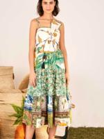 FARM RIO MIXED PRINT BOW DRESS
