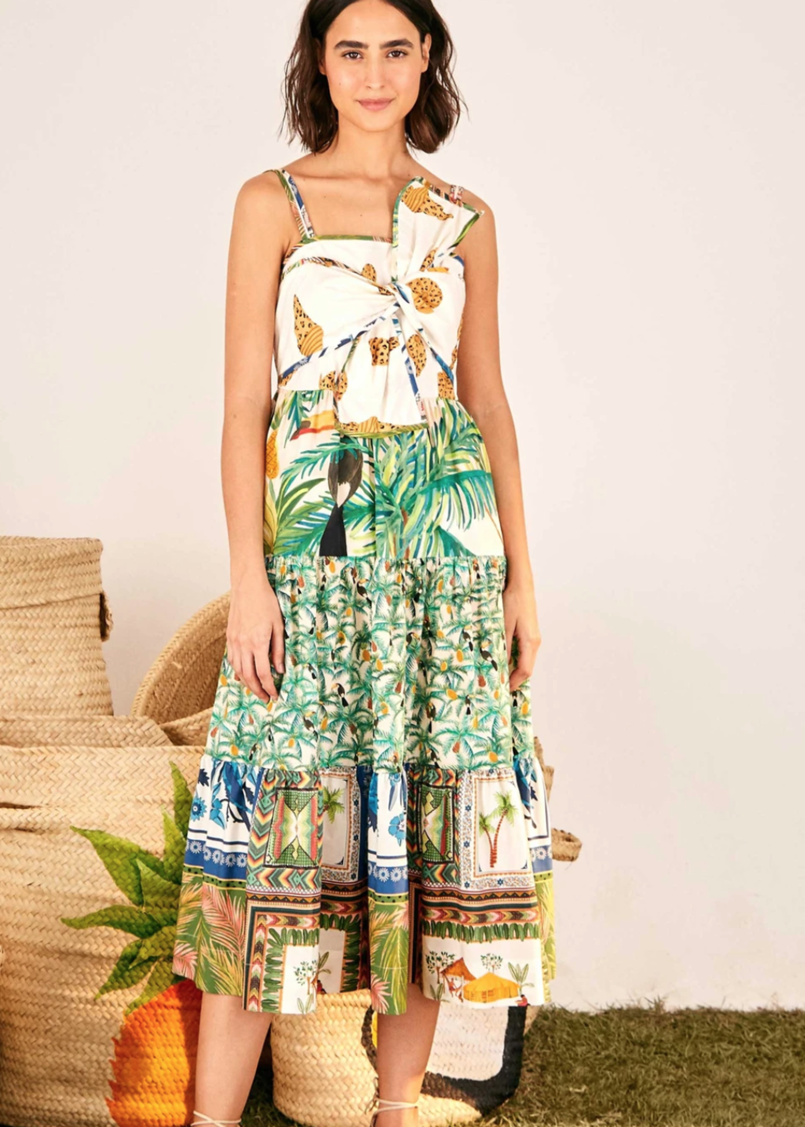 FARM RIO MIXED PRINT BOW DRESS 4/21