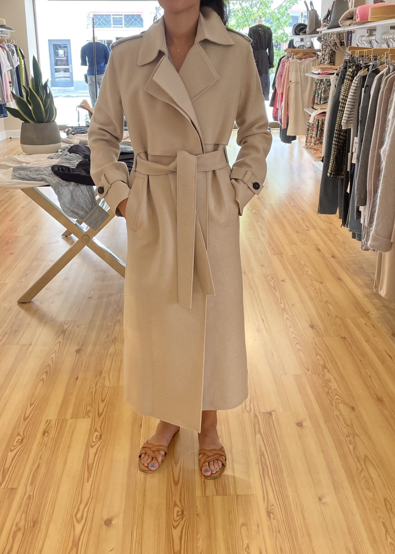 HARRIS AND WHARF LONG TRENCH PRESSED WOOL COAT 7/21
