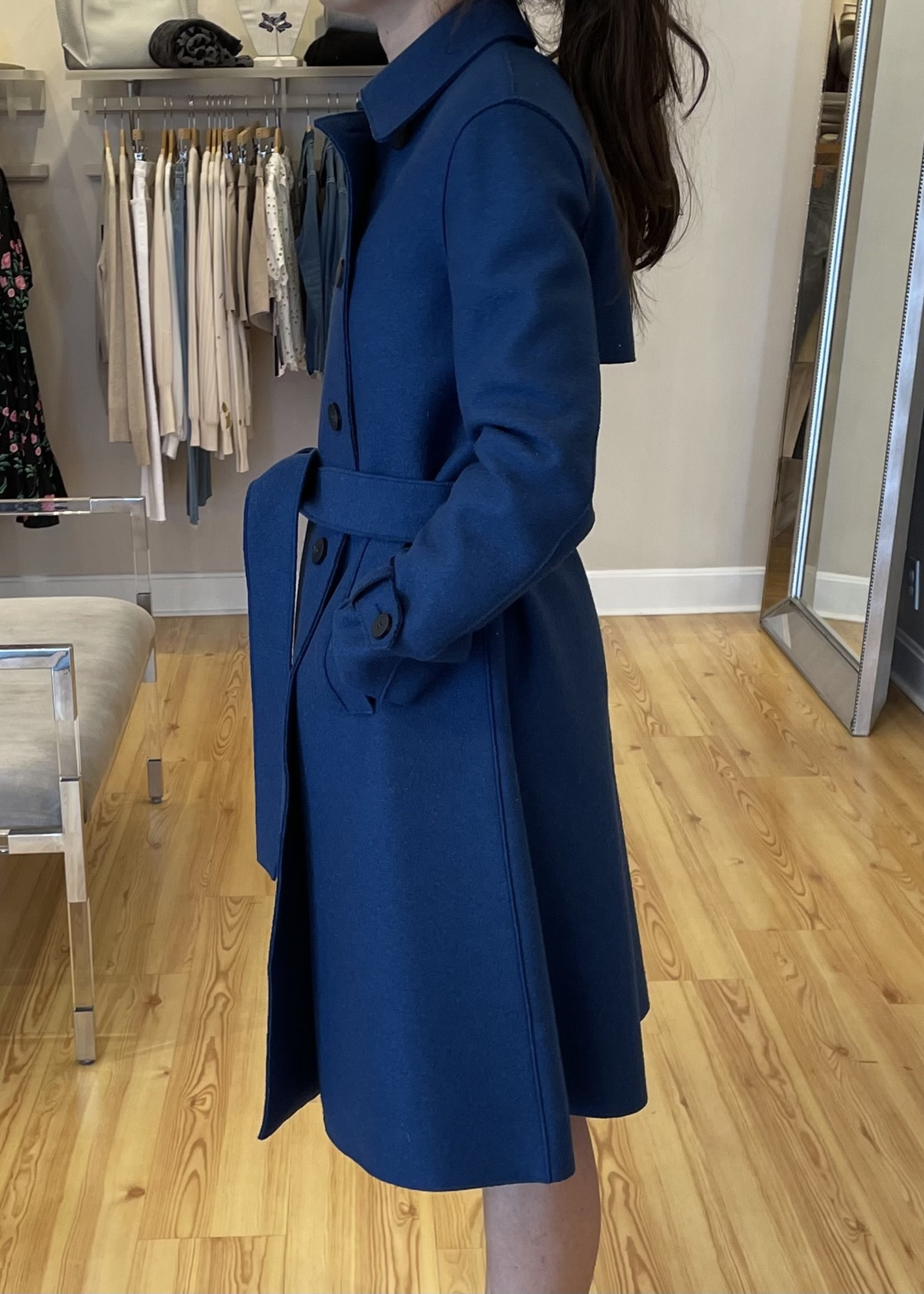 PRESSED WOOL TRENCH COAT