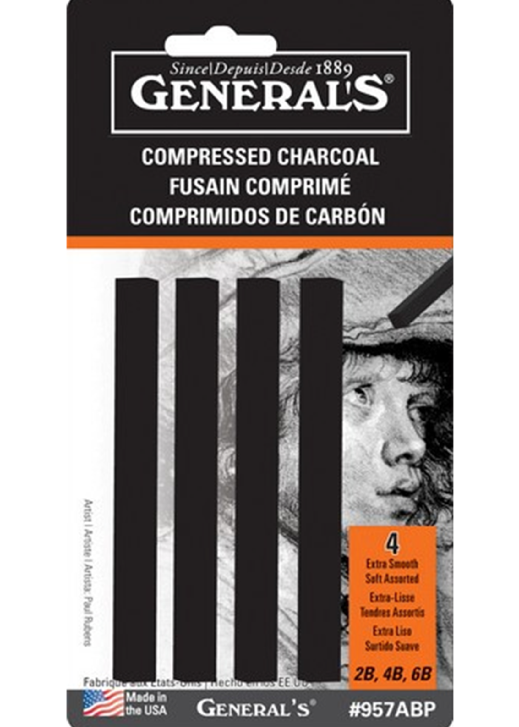 GENERAL PENCIL CO., INC. COMPRESSED CHARCOAL SET