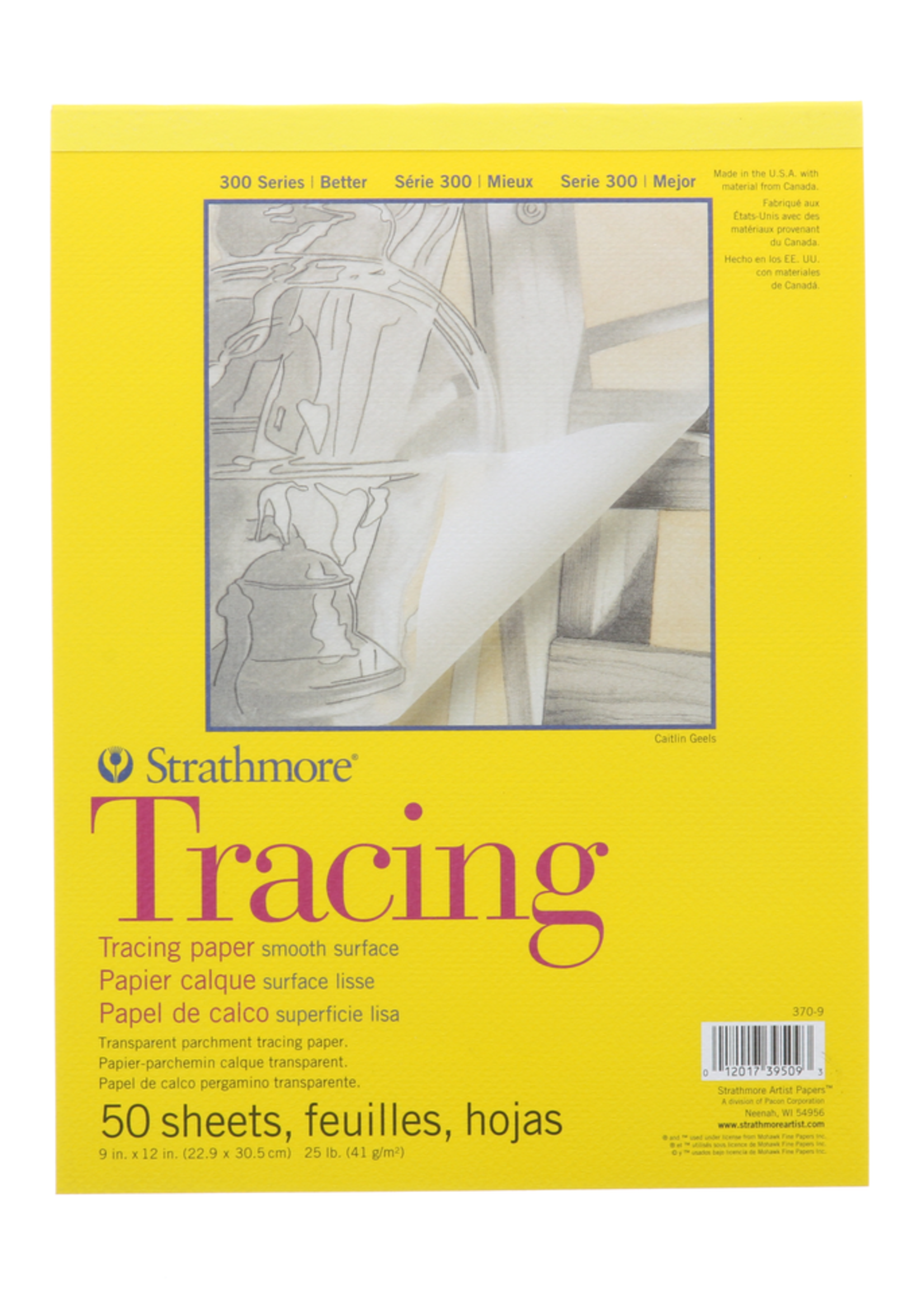 PACON/STRATHMORE TRACING TRANSPARENT PARCHMENT TAPE PAD 25LB 50 SHEETS