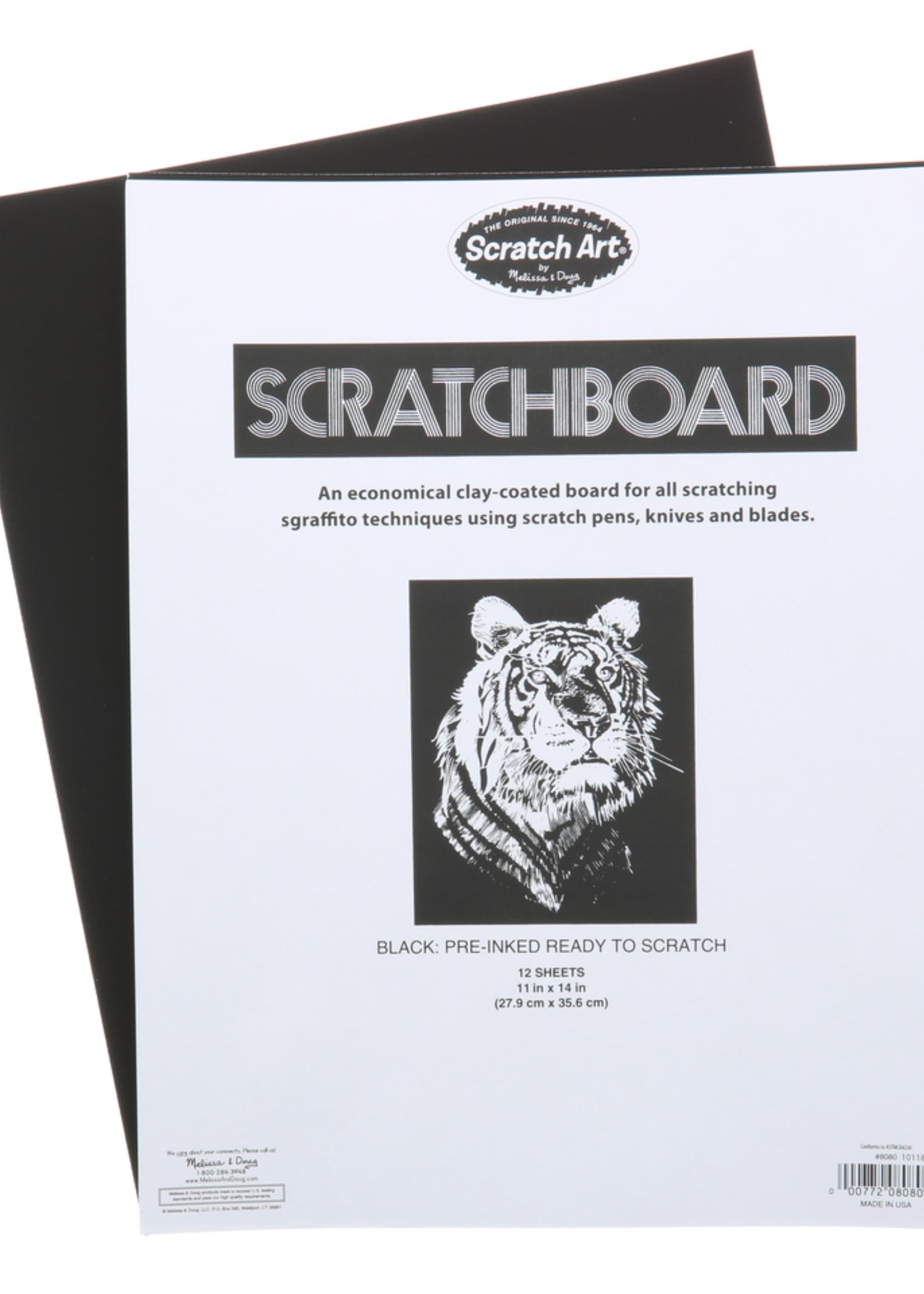 SCRATCH ART SCRATCH BOARD BLACK 12PT 11X14 12/PK