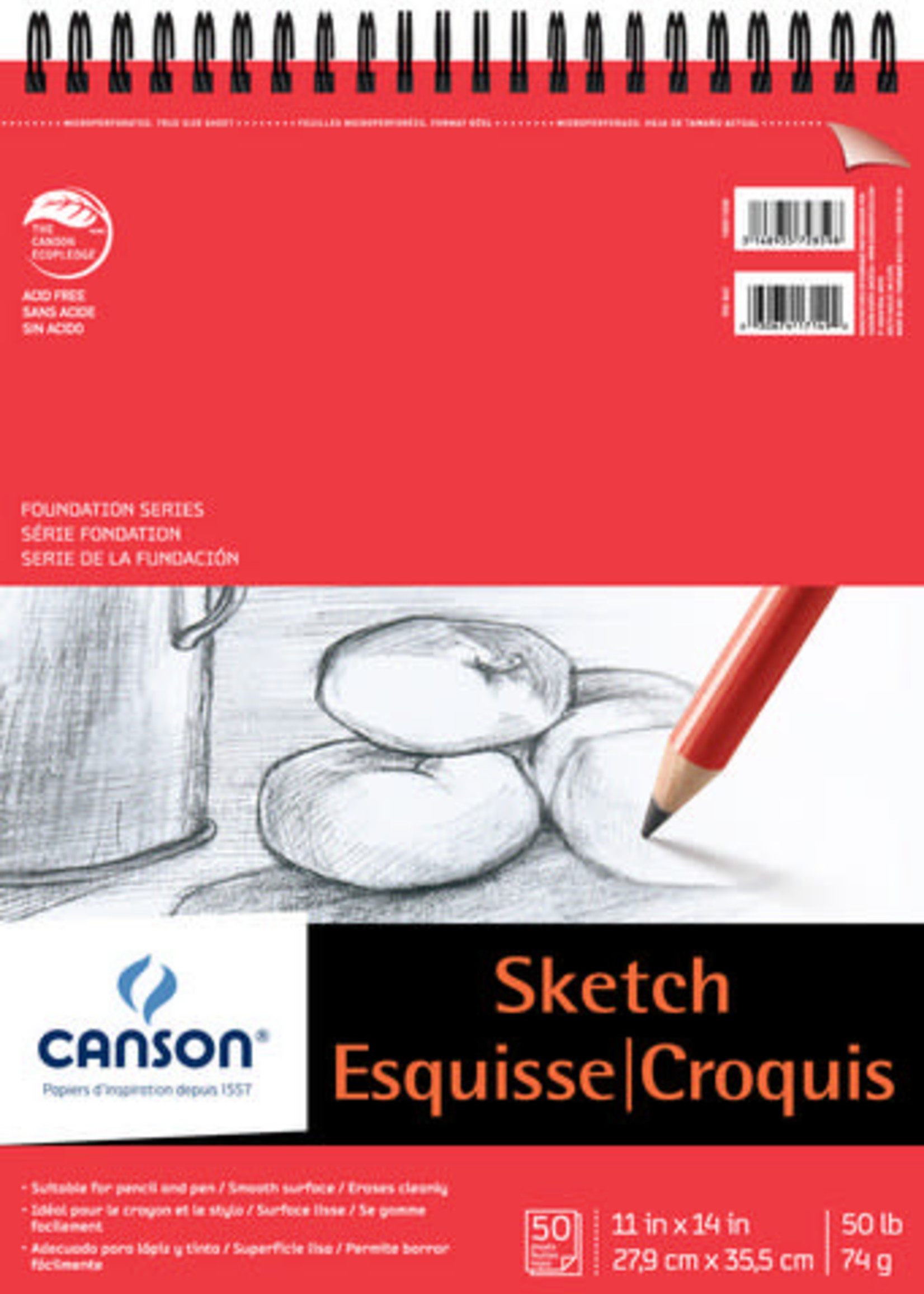 CANSON / PACON PAPERS FOUNDATION SKETCH WIREBOUND 50 SHEET PAD
