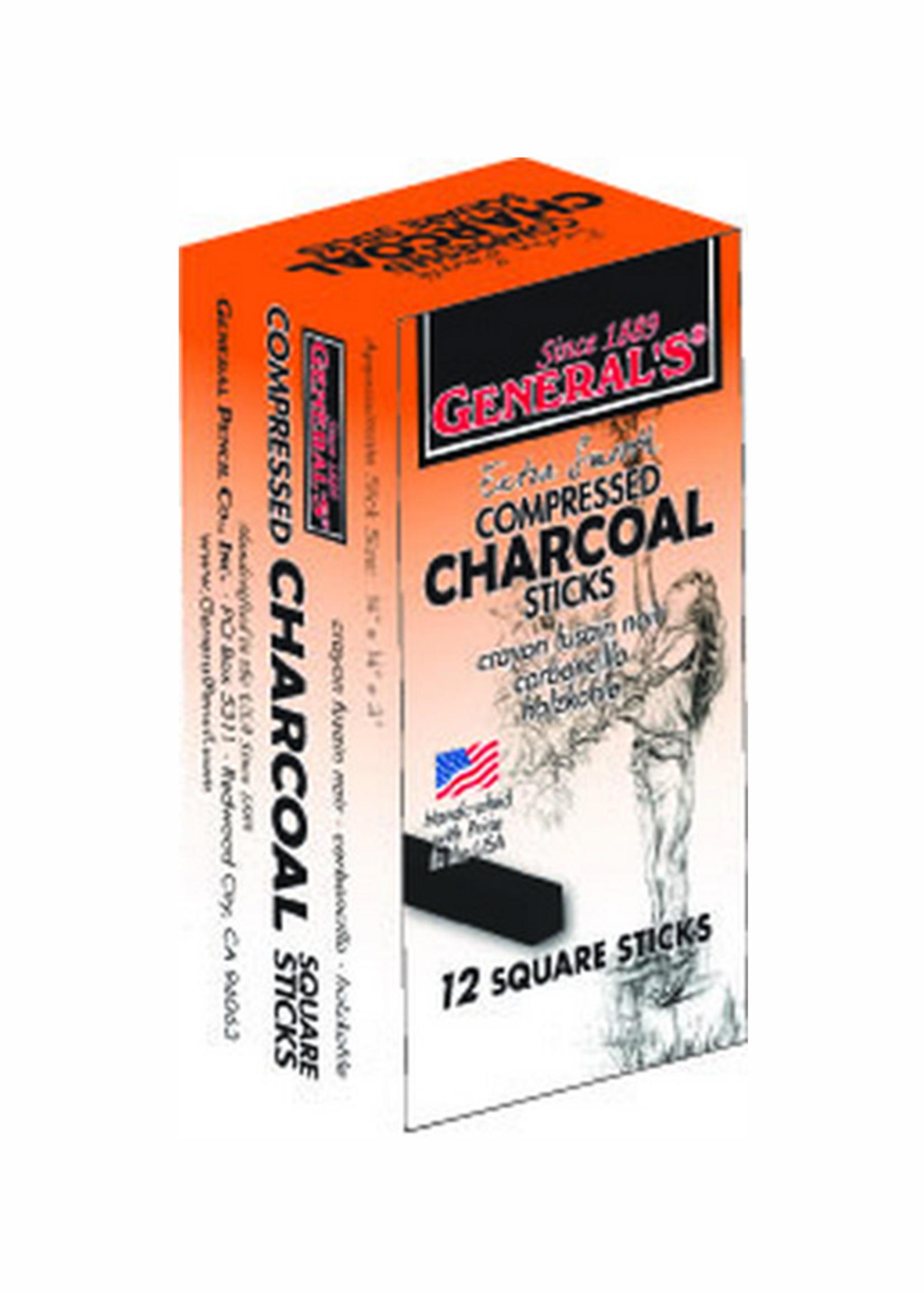 GENERAL PENCIL CO., INC. 2B MEDIUM COMPRESSED CHARCOAL STICKS 12/BOX
