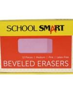 SCHOOL SMART SCHOOL SMART BEVELED SMALL PINK ERASERS (SINGLE)