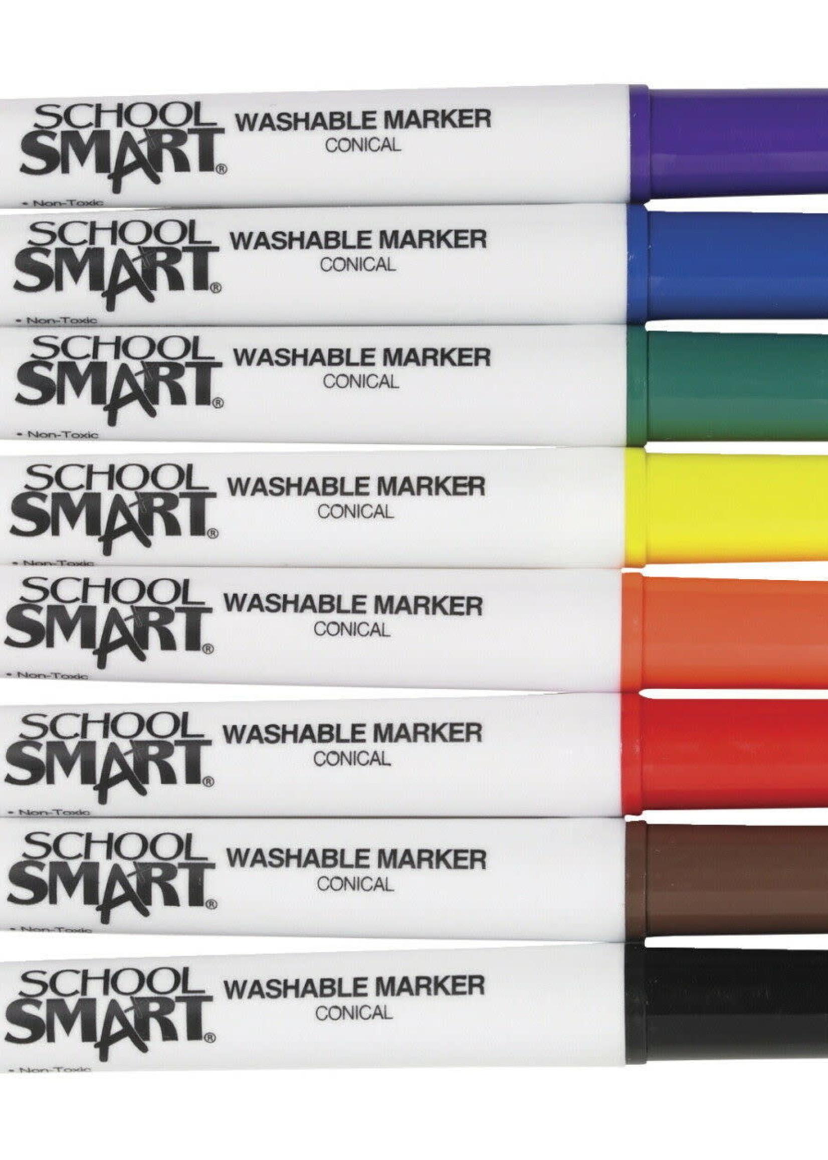 SCHOOL SMART WASHABLE CONICAL TIP MARKER ST/8
