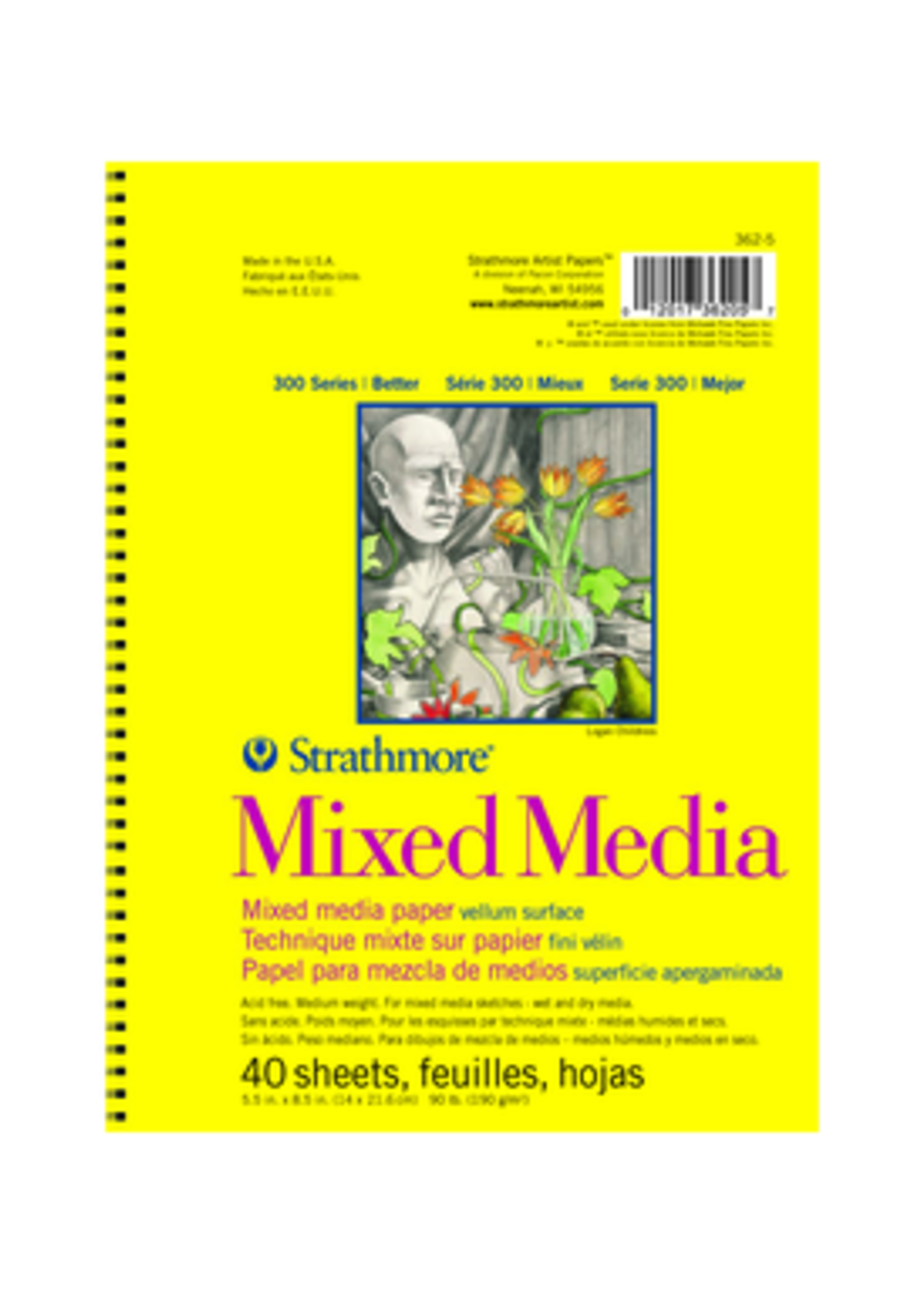 PACON/STRATHMORE MIXED MEDIA MICRO PERFORATED SPIRAL 90LB 40 SHEETS 5.5 X 8.5