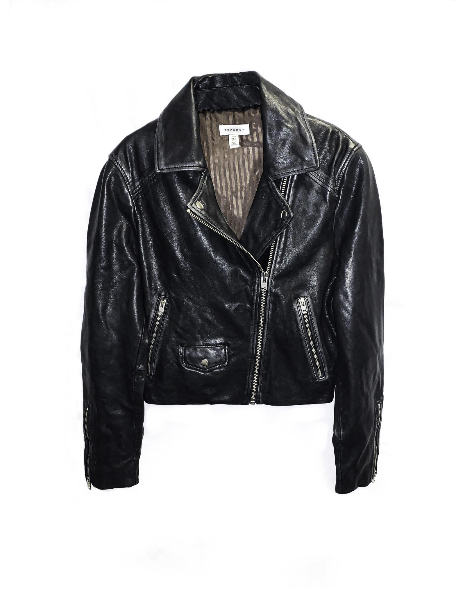 TOPSHOP Topshop Leather Jacket Size: 10