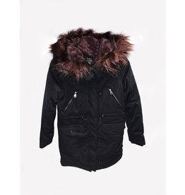 Dex Dex Black-Multi Burgundy Coat