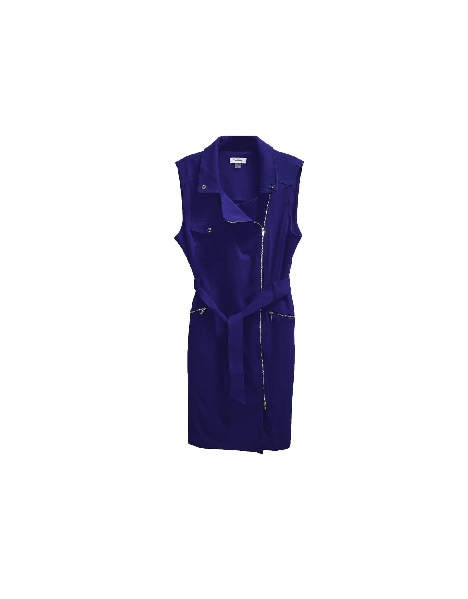Calvin Klein Calvin Klein Sleeveless Collared Zip Front Belted Dress