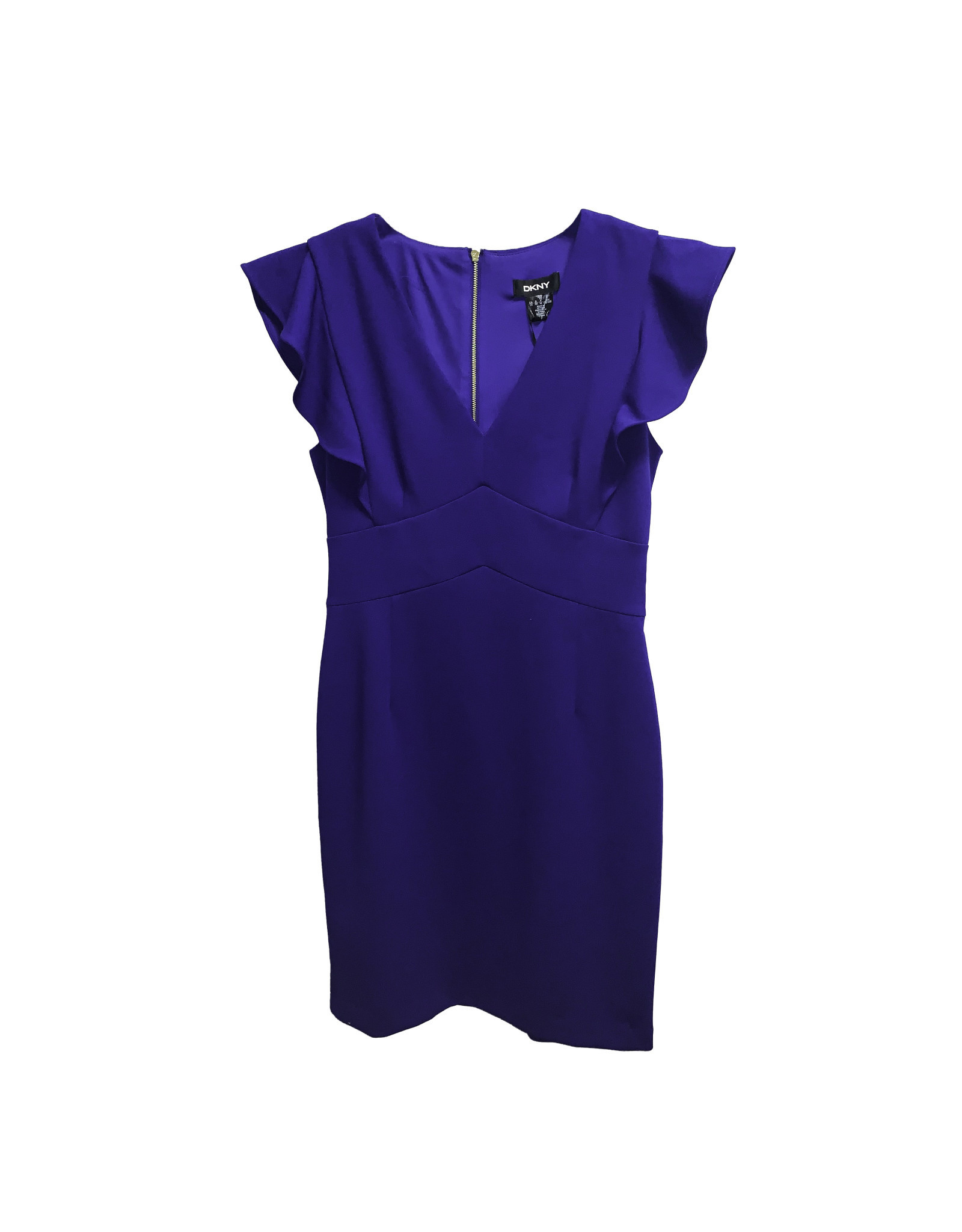 DKNY DKNY V-Neck Ruffle Sleeve Sheath Dress