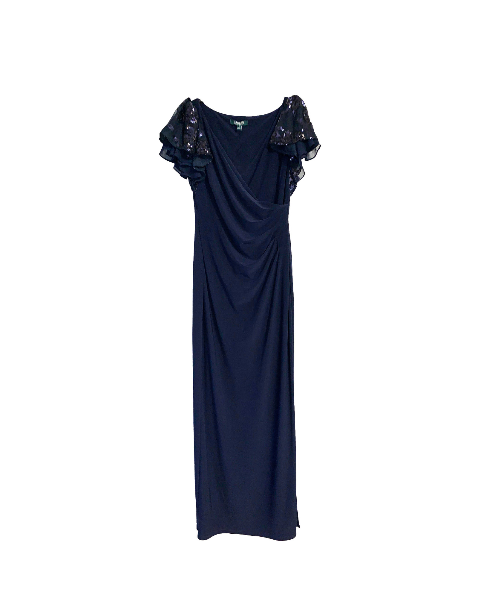 LAUREN RALPH LAUREN Lauren Ralph Lauren Flutter-Sleeve Jersey Evening Gown