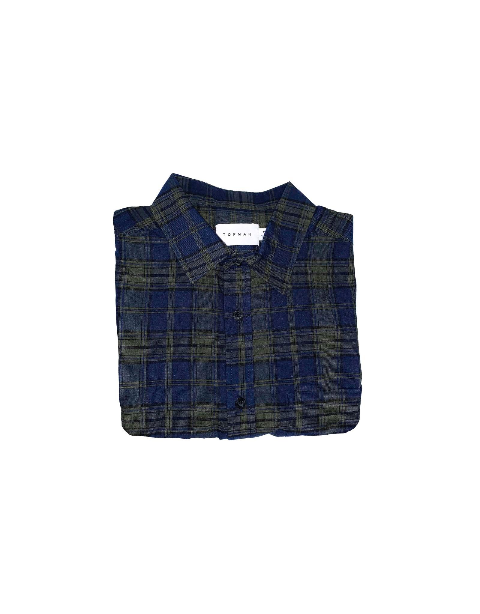 TOPMAN TOPMAN Check Shirt in Green & Navy