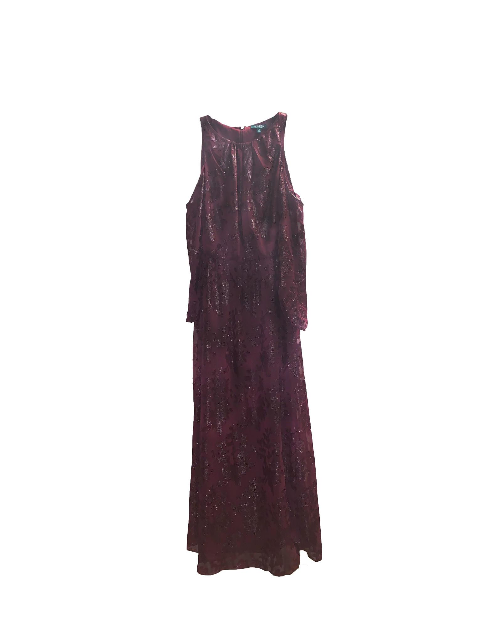 LAUREN RALPH LAUREN Lauren Ralph Lauren  Metalic  Cold  Shoulder Formal  Dress