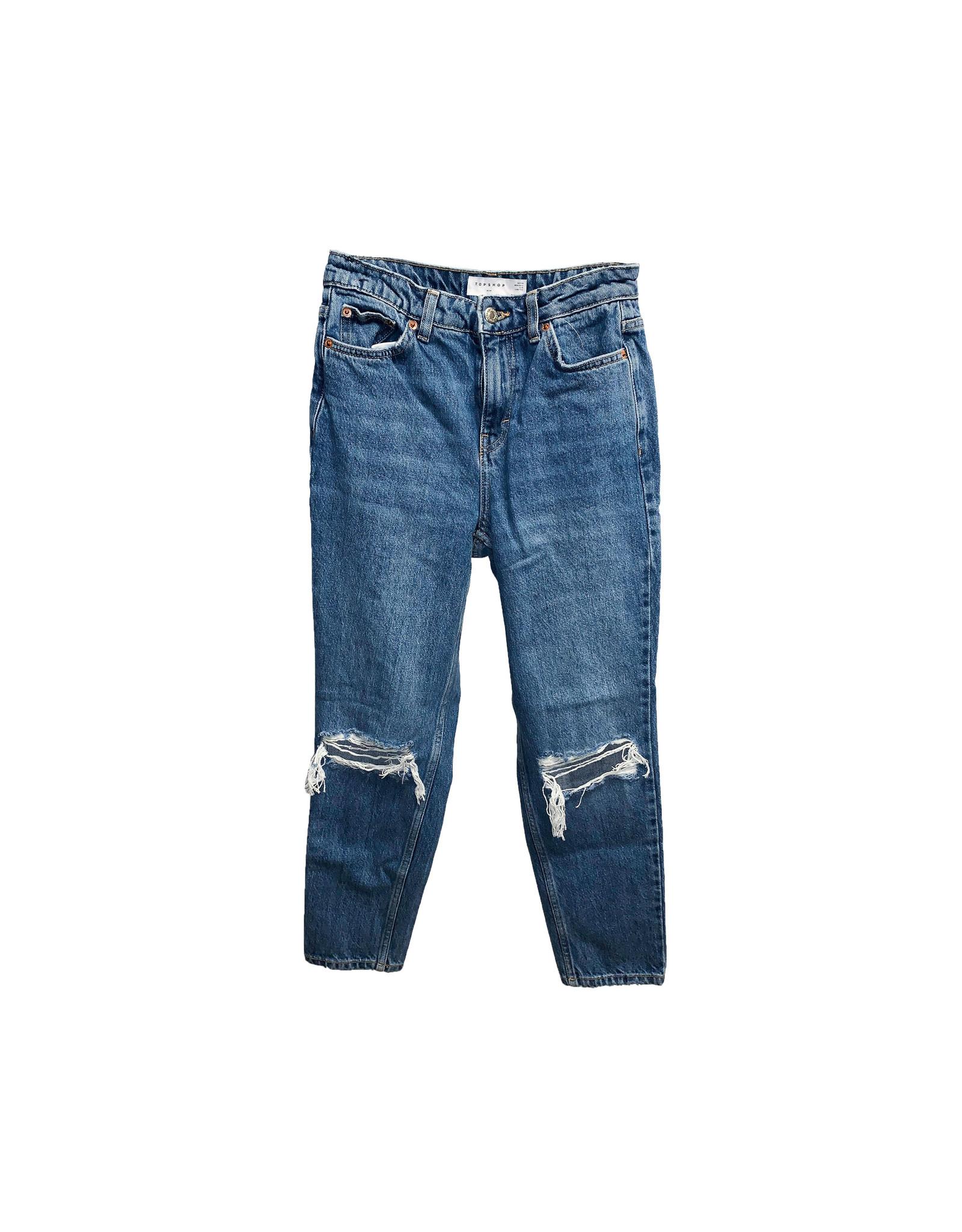 TOPSHOP Topshop Petite Double Rip  Mom Jeans Size W26L28