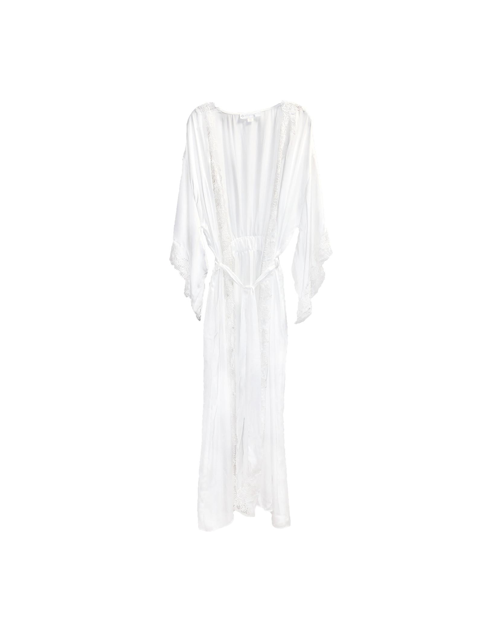 Eileen West Eileen West Lace-Trimmed Satin Wrap Robe