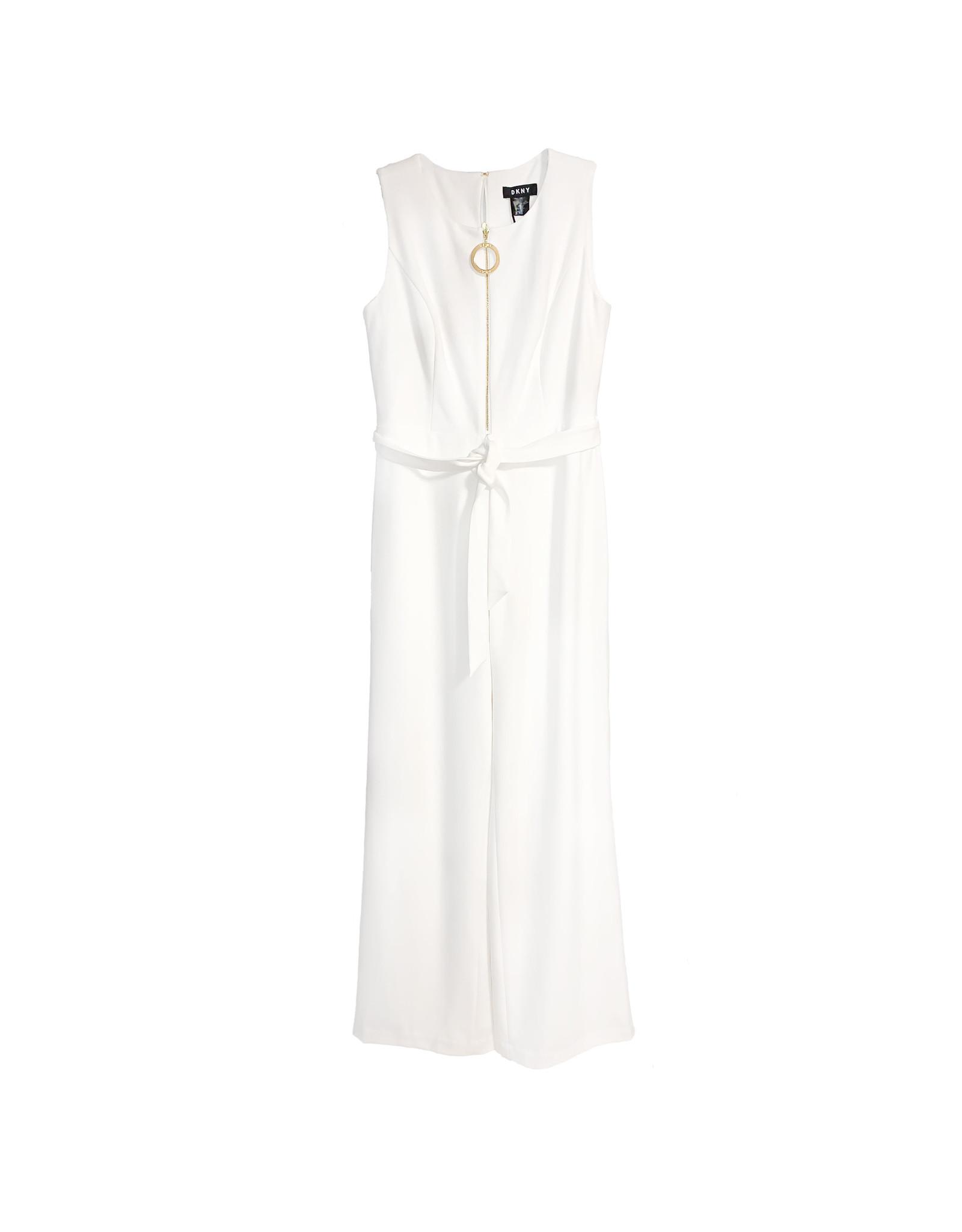 DKNY DKNY  White Logo-Zip Sleeveless Wide-Leg Belt Jumpsuit Size 8