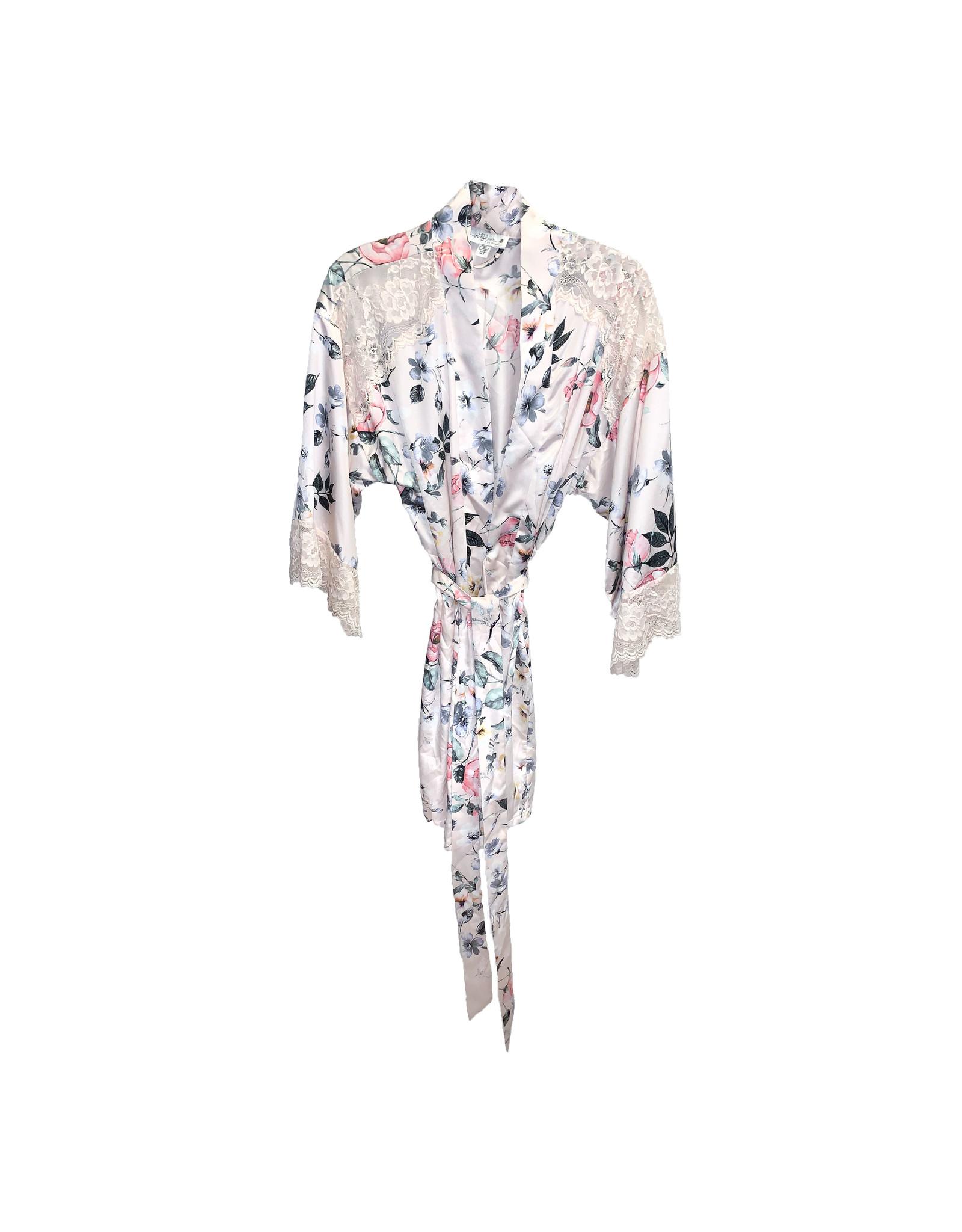 In Bloom In Bloom Floral  Print Satin  Robe SizeXS/S