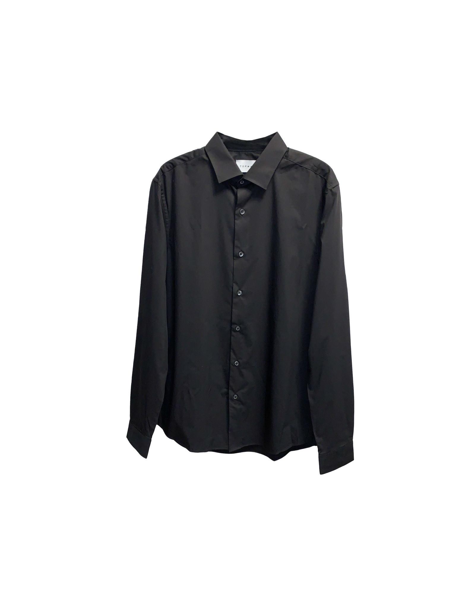 TOPMAN Topman  Plain  Black Dress Shirt Size M
