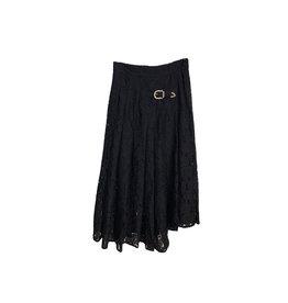 Maje MAJE Buckled Asymmetric Lace Skirt