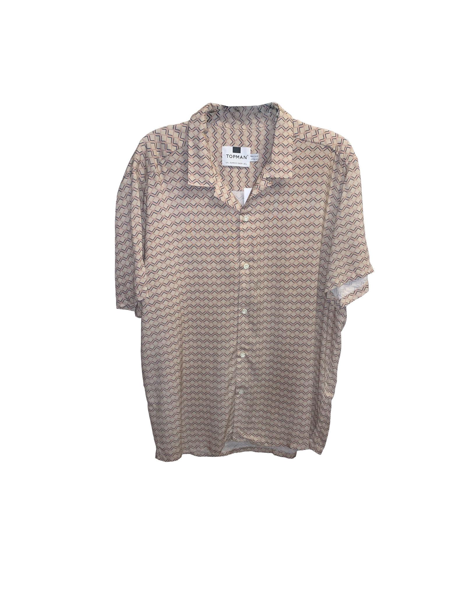 TOPMAN Topman  Stripe Short  Sleeve  Shirt  Size L
