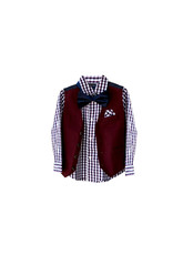 Nautica Nautica Boys  4 -Pc. Check -Print  Shirt,Vest,Pants&Bowties  Set Size 4
