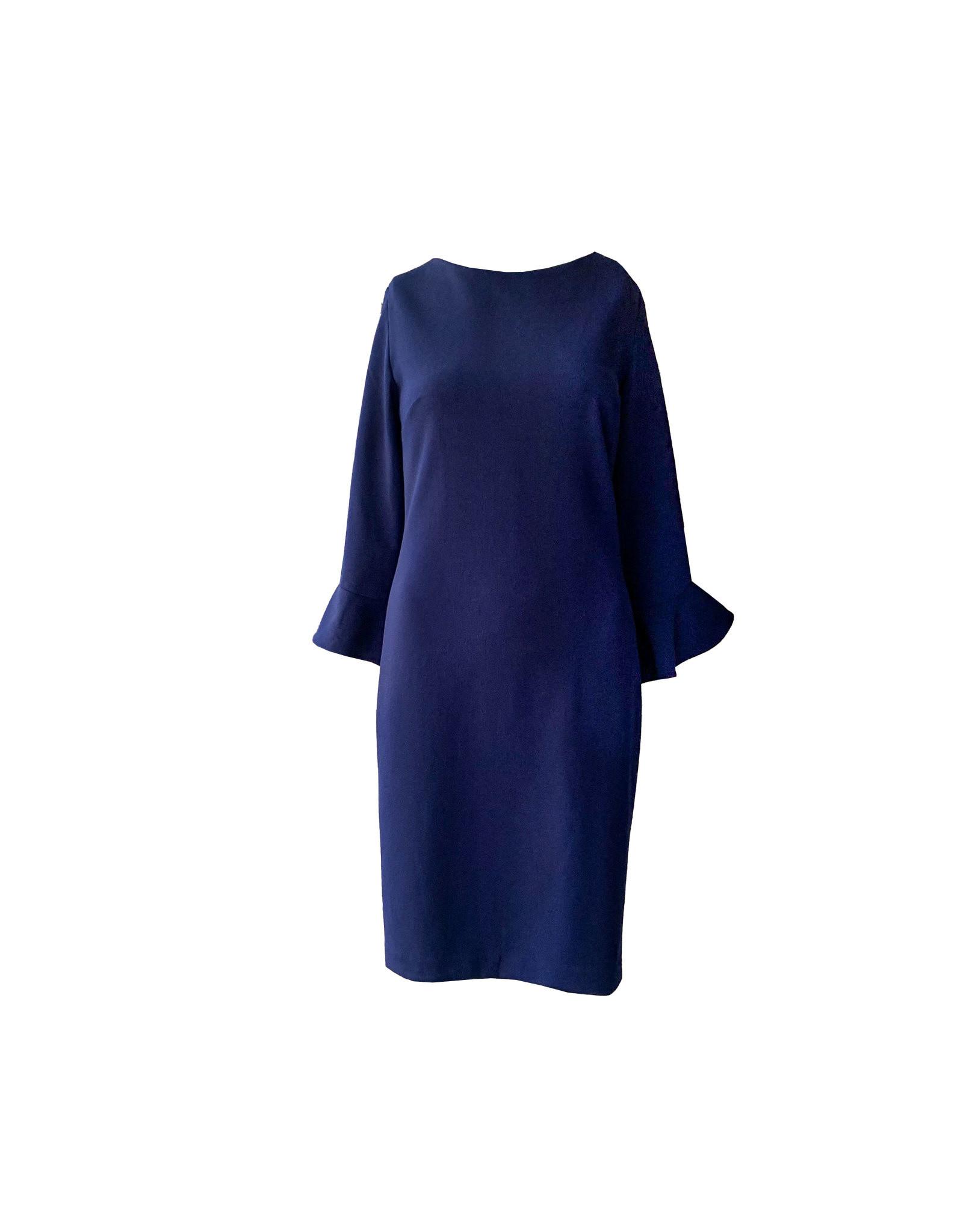 KARL LAGERFELD KARL LAGERFELD Tulip Bell Sleeve Crepe Dress