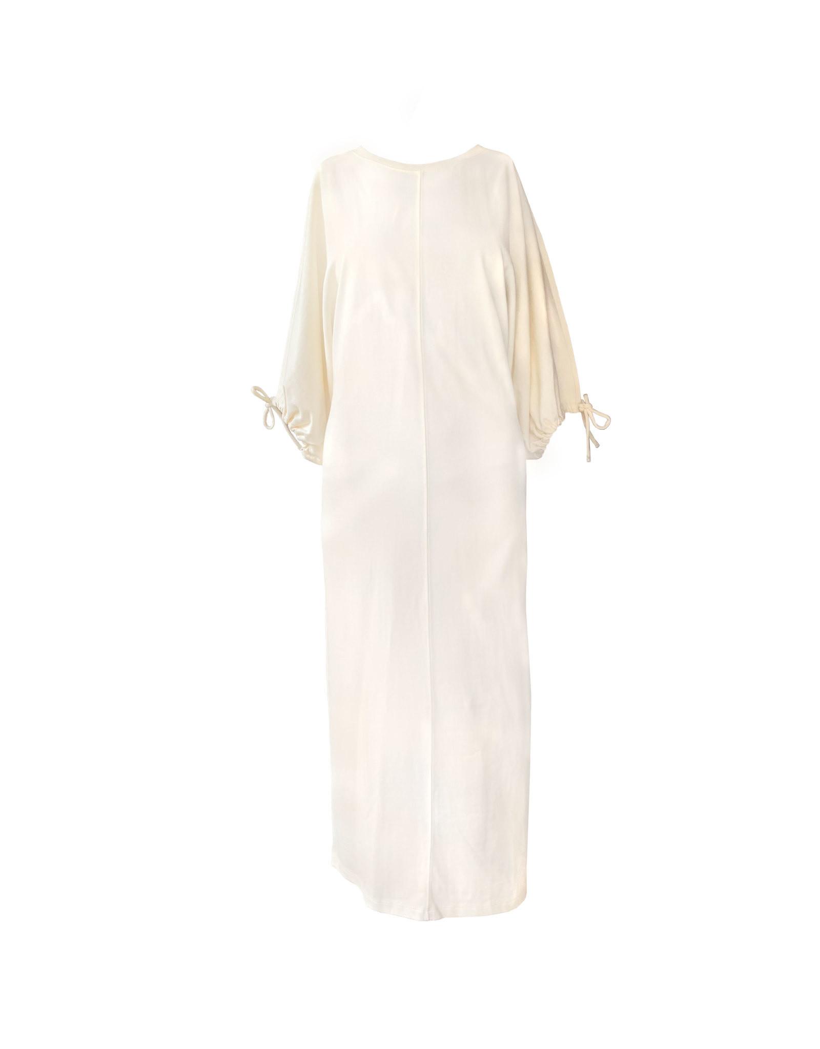 TOPSHOP TOPSHOP Ecru Drawstring  Midi Dress