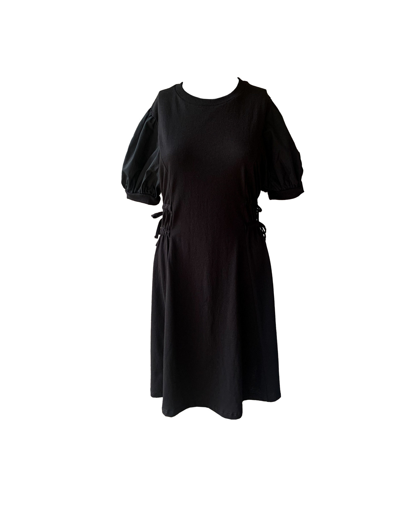 TOPSHOP TOPSHOP Poplin Sleeve Mini Dress In Black